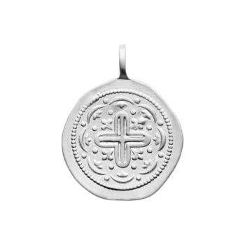 Médaillon de style artisanal avec croix.  Argent 925/000 rhodié.