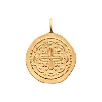 Médaillon avec croix de style artisanal en plaqué or 750/000