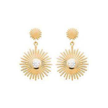Boucles d'oreilles soleil avec pierre sertie en plaqué or.