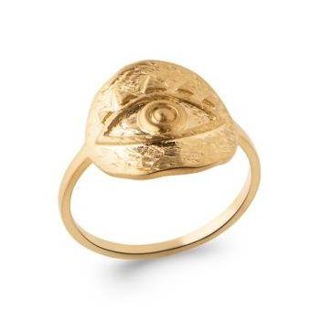 Bague oeil antique en plaqué or.