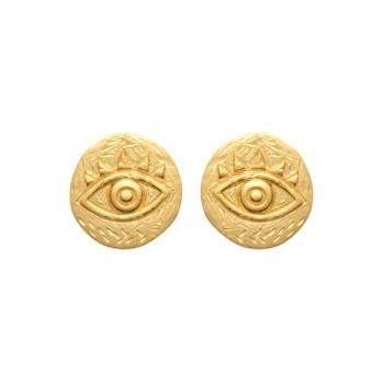 Boucles d'oreilles de style artisanal avec oeil.  Plaqué or 750/000.