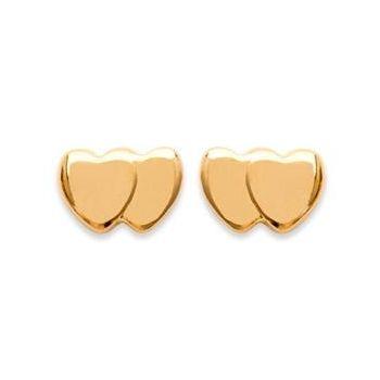 Boucles d'oreilles double coeurs en plaqué or