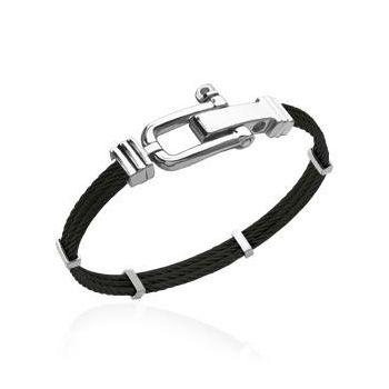 Bracelet homme 3 cables acier noir.