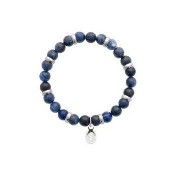 Bracelet homme.  Bracelet élastique à perles en Jaspe Bleu