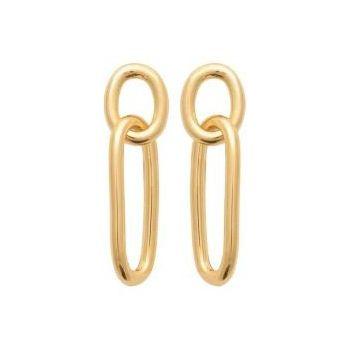 Boucles d'oreilles double maillons en plaqué or 18 carats.